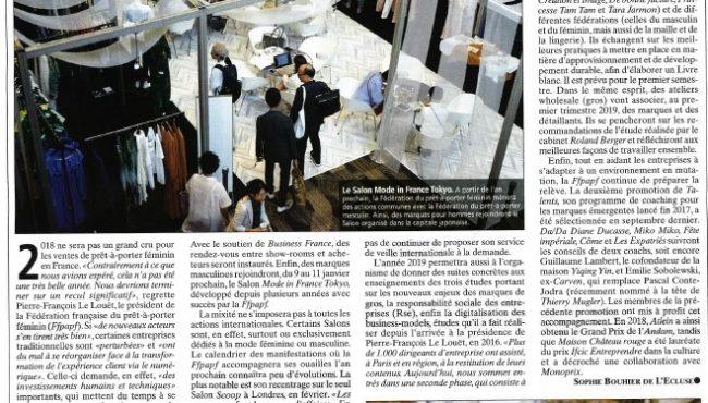 La mode française fait campagne à l'export – Journal du textile – 11.12.2018